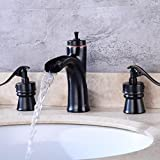 black 3 hole faucet - LIUJIANGLONG European black antique bathroom waterfall hot and cold faucet three hole wash basin faucet bathtub faucet double switch control tap