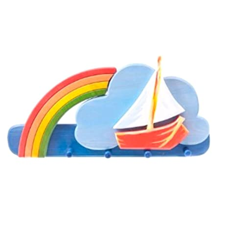 Perchero Infantil perchero Madera Maciza 4 ganchos arco iris ...