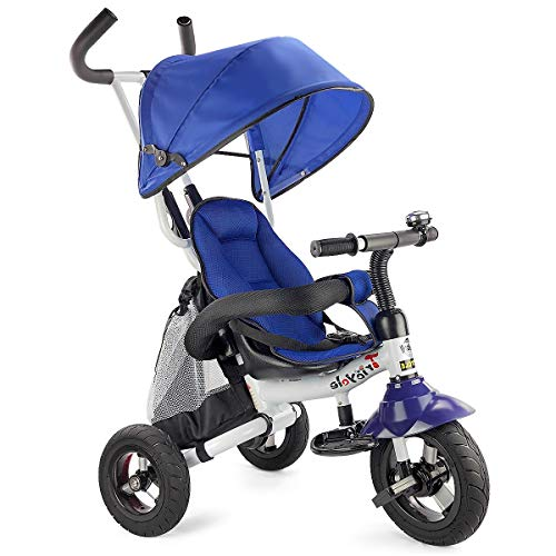 Costzon Baby Tricycle, 6-in-1 Foldable Steer Stroller, Learning Bike w/Detachable Guardrail, Adjustable Canopy, Safety Harness, Folding Pedal, Storage Bag, Brake, Shock Absorption Design, -