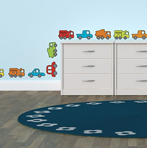 - Wall Decals Art Stickers for Cute Room Decor | Easy to Peel and Stick + Safe on Painted Walls - Brightly Colored Cars, Fire Trucks and Trucks for Kids Rooms. Three 10