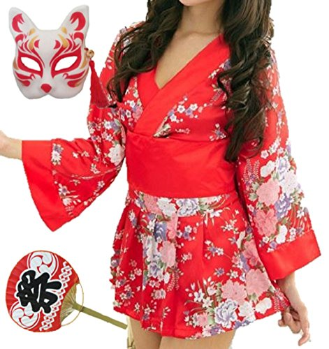 AHJ-CP Women's Sexy Kimono Costume Red with Fox mask , Uchiwa Fan [ Japanese YUKATA ] Halloween Dress (Yukata Halloween Costume)
