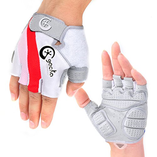 Cgecko Special Wicking Shockproof Mountain Reflex Gel Bike Half Finger Glove Tri-color Optional Outdoor Sports Gloves Cycling Short Glove (Red, L)