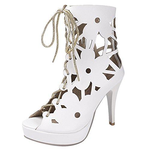 Coolcept Women Peep Toe Bootie Sandals Heels White fwxnCywwOl