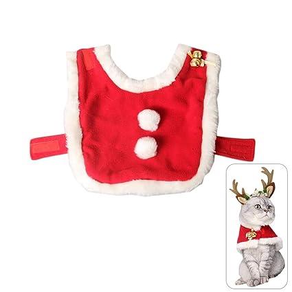 EisEyen pequeños Perros Gatos Disfraz de Navidad con Campanas Peluche Capa – Cachorros Ropa Outfit