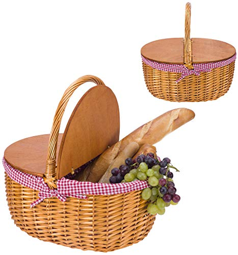 Large Picnic Basket with Lid | Wicker Picnic Basket | Willow Basket Set | Camping Picnic Table Set Gingham