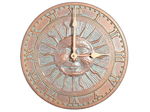 Whitehall Sunface Indoor/Outdoor CLOCK 12'' Diameter by Whitehall