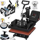 Mophorn 12x10 Inch Heat Press 5 in 1 Swing Away Heat Press Machine Multifunction Heat Transfer Machine for Shirt Plate Mug Hat Cup 900W