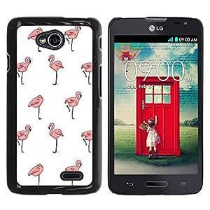 YOYOYO Smartphone Protección Defender Duro Negro Funda Imagen Diseño Carcasa Tapa Case Skin Cover Para LG Optimus L70 LS620 D325 MS323 - papel tapiz flamenco rosado blanco limpio