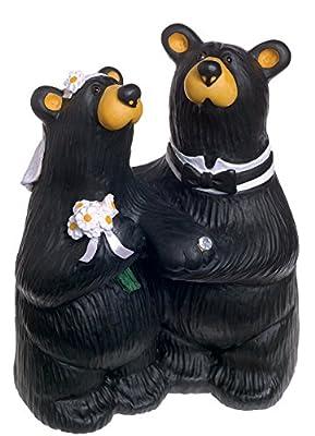 Wedding Couple Black Bear 6 x 4.5 Hand-cast Resin Figurine Sculpture