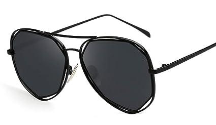 DaQao Gafas de sol, vintage, redondas, marco de metal, fibra ...