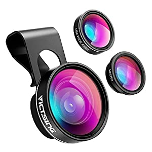 VicTsing 3 in 1 Clip on 0.65X Wide Angle Lens, Fisheye Camera Lens, 10X Macro Lens For iPhone 6, 6 Plus, iPhone 5, 5S, 4 and Most Android Phone