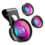 #6: VicTsing 3 in 1 Fisheye Camera Lens, Macro Lens, 0.65X Wide Angle Lens, Clip on Cell Phone Lens Kits for iPhone 8, iPhone 7, 6s, 6, 5s , Android and Most Phones