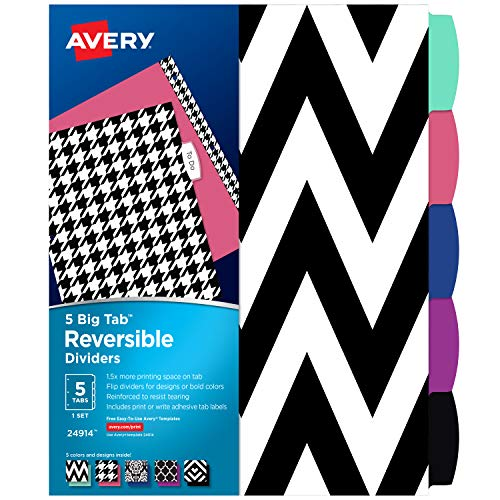 Avery 5 Tab Reversible Fashion Binder Dividers, Assorted Designs, Big Tabs, 1 Set (24914)