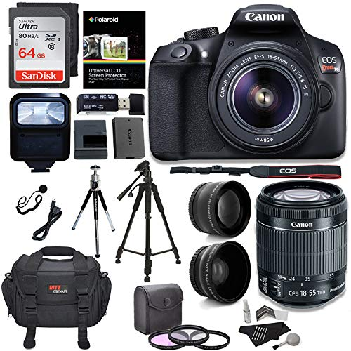 Canon EOS Rebel T6 Digital SLR Camera Kit + EF-S 18-55mm f/3.5-5.6 is II Lens + Pro .58x & 2.2X Lenses + Sandisk 64GB Memory + 48