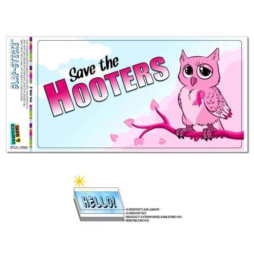 Save the Hooters - Owl Breast Cancer Awareness Pink Ribbon SLAP-STICKZ(TM) Automotive Car Window Locker Bumper Sticker