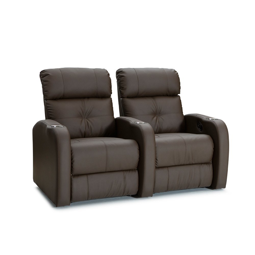Palliser Terra Polyurethane Home Theater Seating Leather Manual Recline - (Row of 2, Brown)