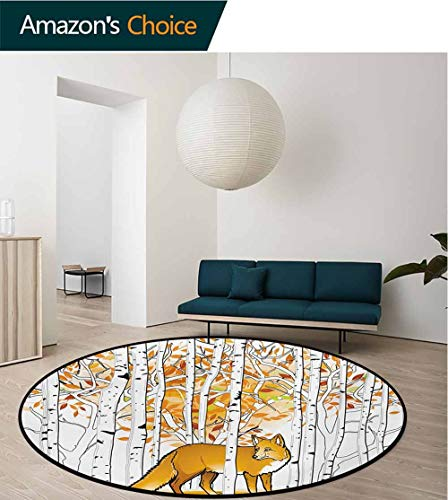 RUGSMAT Hunting Round Kids Rugs,Fox Hunting in Autumn Forest Birch Trees Rustic Life Wilderness Animal Learning Carpet Non Skid Nursery Kids Area Rug for Playroom,Diameter-39 Inch ()