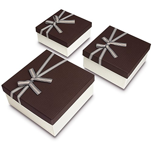 Ikee Design Square Nesting Gift Boxes, A Set of 3,Brown Color with A Bowtie ()