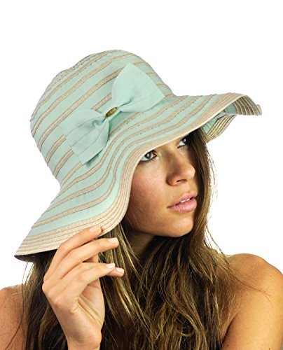 NYFASHION101 Women's Two Tone Weaved Removable Bow Floppy Brim Sun Hat - (Removable Bow)