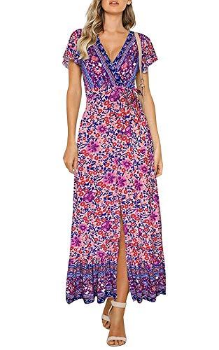 Yidarton Women's Summer Bohemian Wrap V Neck Floral Printed Short Sleeve Beach Casual Long Maxi Dresses(pu,s) - Printed Wrap
