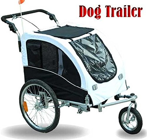 Elite II Pet Dog Bike Bicycle Trailer Stroller Jogger with Suspension44; White by OnlineGymShop.com