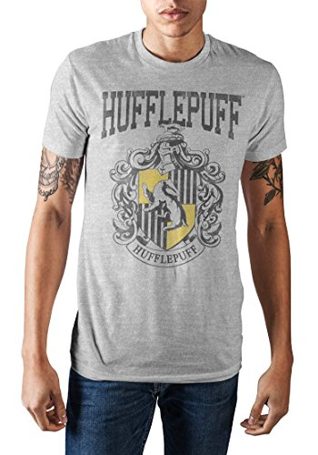 (Harry Potter Hogwarts School of Witchcraft and Wizardry Hufflepuff House Crest Men's T-Shirt (Athletic Heather, X-Large))