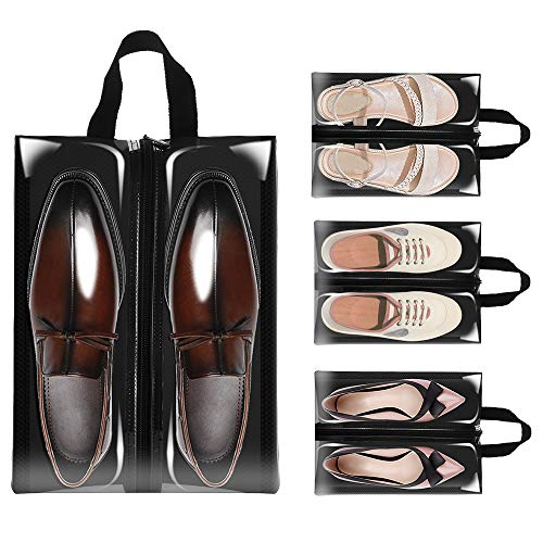 Clear Shoe Bags for Travel, Sariok 4PCS X-Large Shoe Bag for Men Women Organizer (Black) by Sariok