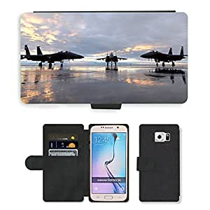 Super Stella Cell Phone Card Slot PU Leather Wallet Case // M00421296 Jets Aircraft Military F-15 // Samsung Galaxy S6 (Not Fits S6 EDGE)