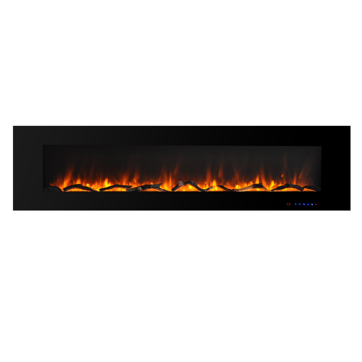 Valuxhome Luxey 72'' 750W/1500W, Wall Mounted Smokeless Electric Fireplace Heater with Remote, Black
