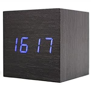 Sunikoo 9956487 Wall Charger, LED Wood Clock Alarm Table Clock