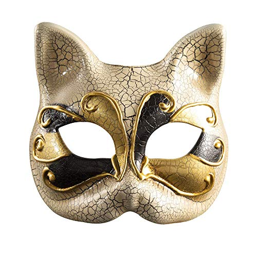 - BLEVET Venetian Masquerade Masks Cat Face Mask Halloween Costume Mardi Gras Party Ball Eye Mask BK004 (Black)