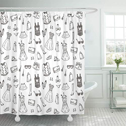 Emvency Shower Curtain Pattern Dress Women and Accessories Doodle Sketch Hand Drawn Shower Curtains Sets with Hooks 72 x 72 Inches Waterproof Polyester Fabric