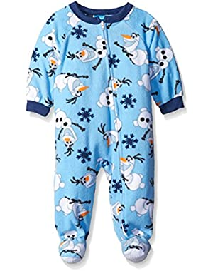 Disney Baby Boys' Olaf Snow Fun! Footed Blanket Sleeper
