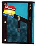 HQ Advance Products Nylon Pencil Pouch, Diagonal Mesh Front, Assorted Colors with Two Zippers (30023)