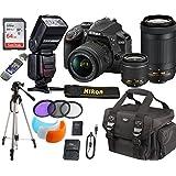 Nikon D3400 24.2 MP DSLR Camera + AF-P DX 18-55mm VR & AF-P DX 70-300mm NIKKOR Lenses + Accessory Bundle 64GB Memory + SLR Photo Bag + TTL SpeedLite Flash w/LCD Display + Tripod + Filters (Black)