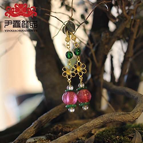 usongs Chinese bride custom crystal beads ear hook earrings ancient pharaohs glass powder containing tourmaline earrings jewelry Yin Xia
