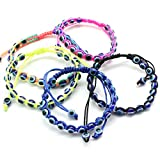 SUMMER LOVE 5pcs String Hamsa Kabbalah Bracelets Braided String Bracelet Cord Evil Eye Bracelet for Success and Protection Lucky