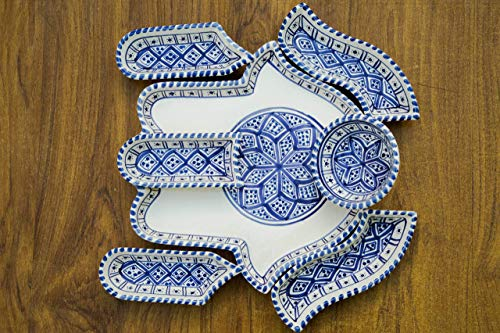 (Large Blue and White Hamsa Palm, Hand of Fatima Dippers, 7 Pieces of Ceramic Dipping and Serving Plates Handmade, Hand-painted - Gifts, Wedding Gifts Birthday Celebration, Housewarming)