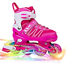 Woolitime Sports Adjustable Inline Skates for Kids with 8 Illuminating Wheels, Safe and Durable Rollerblades, Fashionable Roller Blades for Girls and Ladies