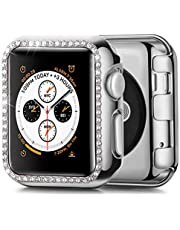 JuQBanke Compatible with Apple Watch Case 42mm, TPU Bumper Protective Cover Women Girl Bling Shiny Crystal Rhinestone Diamond Screen Protector Compatible for iWatch Series 3/2 / 1(Rose Gold,42mm)