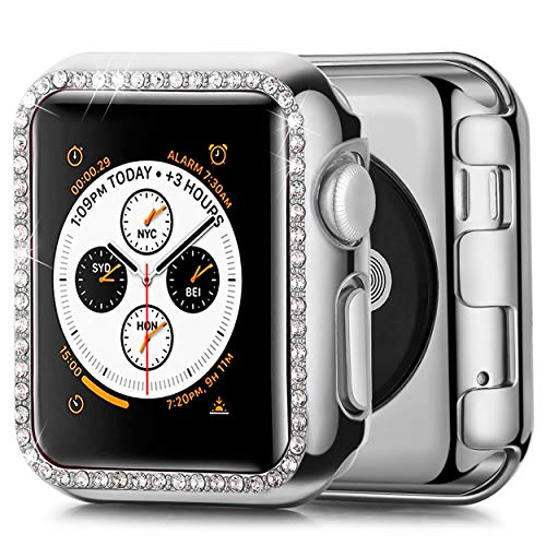 (JuQBanke Compatible with Apple Watch Case 40mm, TPU Bumper Protective Cover Women Girl Bling Shiny Crystal Rhinestone Diamond Screen Protector Compatible for iWatch Series)