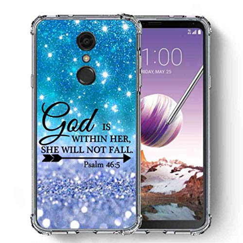 (for LG Stylo 4 Case, LG Q Stylus Case, SuperbBeast Ultra Slim Thin Protective Case w/Reinforced Corners Vector Floral Flowers Polka Dots [Glitter Pattern])