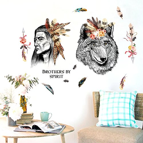 Home Decoration Wall Stickers Chieftain and Wolf Personality Art Wall Sticker Living Room Bedroom Classroom Studio Creative Sticker Self-adhesive Picture 82113cmWall Sticker Decals Home DIY Decors.