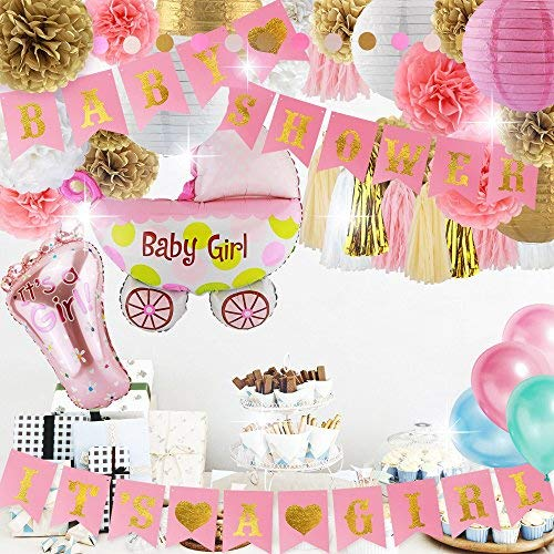 (Pink and Gold Baby Shower Decorations for Girl, 41-Pcs Set Including Bunting Banner, Dot Garland, Tissue Pom Poms & Lanterns, Balloons)