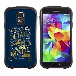Paccase / Suave TPU GEL Caso Carcasa de Protección Funda para - World Inspiring Quote Blue Golden - Samsung Galaxy S5 SM-G900