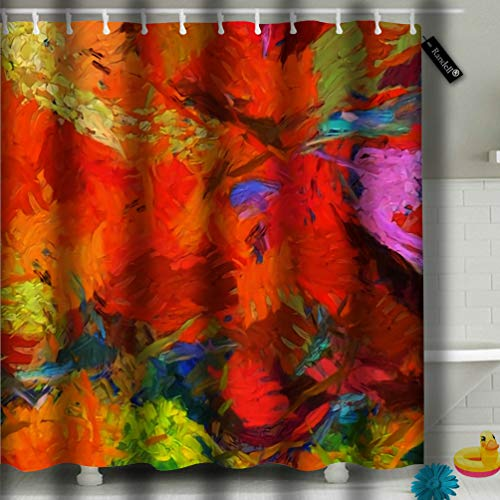 txregxy Shower Curtain Bath Curtain Abstract Texture Digital Painting in Vincent Van Gogh Style Decorative Modern Bathroom Accessories 72 by 940 Inches 72