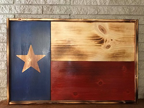 wooden charred Texas state flag rustic