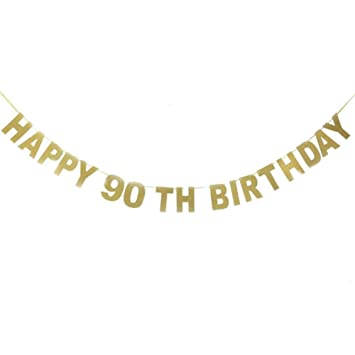 Happy 90TH Birthday Banner Gold Glitter For 90th Anniversary Party Decorations Supplies