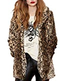 Aukmla Women's Faux Fur Coat Leopard Printed Mid-Length Lapel Jacket With Pockets (XL Size)