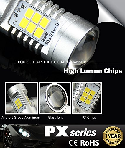 JDM ASTAR 1260 Lumens Extremely Bright PX Chips 3057 3156 3157 4057 4157 White Backup Reverse LED Bulbs by JDM ASTAR (Image #2)